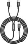 Кабель 2 в 1 USB type C to Lightning, MicroUSB (комбинированный) Baseus Rapid Series 3A