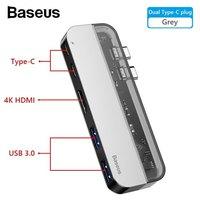 Адаптер док станция Baseus Transparent Dual Type-C Multifunctional Hub Adapter USB type C to HDMI, USB 3.0, USB-C, PD для MacBook Pro