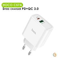 Сетевая зарядка HOCO C57A USB type C + USB type A Quick Charge 3.0 + PD (Power Delivery)