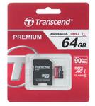 Карта памяти 64Gb Transcend Premium microSDXC UHS-I (Class 10, U1) TS64GUSDU1