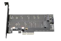 Адаптер PCI-E 4x to M2 PCI-E NVMe, M2 SATA Combo