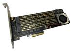 Контроллер PCI-E 3.0 x4 to M.2 Combo PCI-E NVMe M Key + M.2 SATA B&M Key 22110, 2280 с кулером