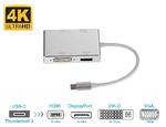 Адаптер-переходник USB Type-C to DisplayPort, HDMI, DVI-D, VGA (4 в 1) 4K 60 Hz