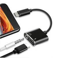 Переходник 2 в 1 USB type C to AUX (jack 3.5mm, audio) с зарядкой