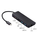 Адаптер многопортовый USB type C to HDMI, USB 3.0, LAN, USB-C, Картридер, звук 3.5 мм, 8 в 1