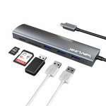 Адаптер-переходник USB type C to USB 3.0, MicroSD, SD картридер WavLink Aluminum USB-C Hub