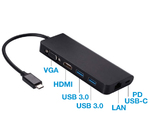 Адаптер док-станция 6 в 1 USB type C to HDMI, VGA, USB 3.0, LAN, USB-C